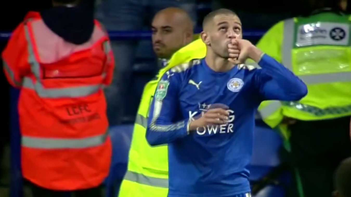 Le magnifique but d'Islam Slimani contre Liverpool en coupe de la ligue